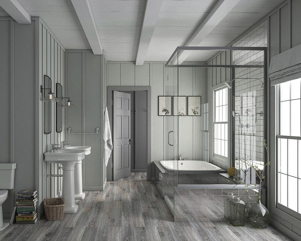 Водостойкий SPC-ламинат в ванной комнате